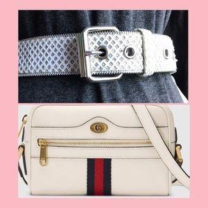zipper. holo v leather vintage 90s belt